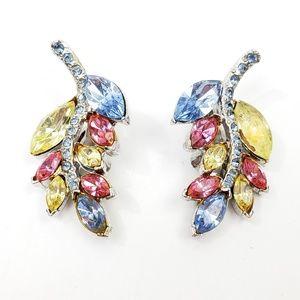 Vintage Pastel Leaf Rhinestone Earrings